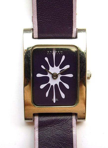 Skagen Denmark часы оригинал циферблат клякса мех. золоченая Miyota