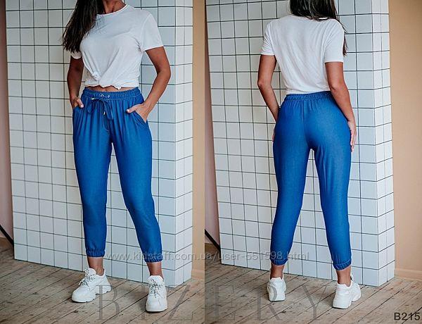 Штаны из лёгкого джинса на резиночке B214-215