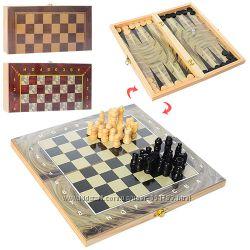 Деревянные шахматы 3 в 1 шашки и нарды.