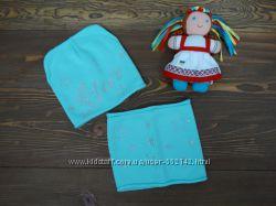 Трикотажная шапка и хомут Star для девочки р. 48-50 3 цвета