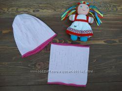 Набор Анфиса. Хлопковая шапка и хомут для девочки р. 50-52