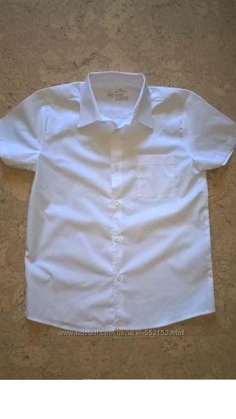 Рубашка в школу для для мальчика с коротким рукавом  белая ТМ Smart start.
