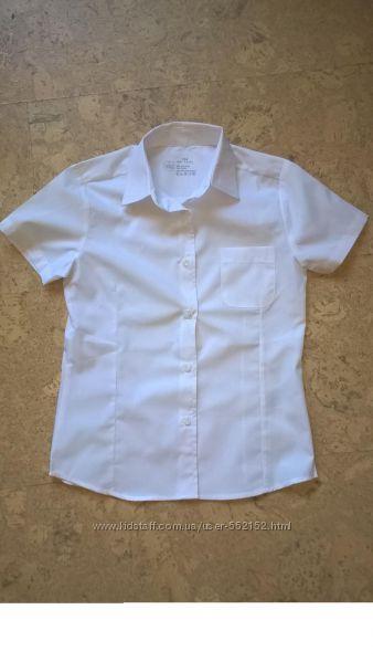 Рубашка блузка с коротким  рукавом белая  школу для девочек ТМ Smart start.