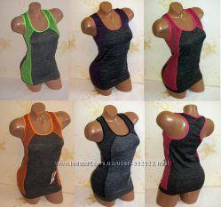 Спортивная женская майка топ, одежда для фитнеса, размер 42-50  В