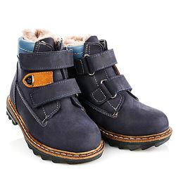 Зимние ботинки синие натуральный мех Артикул 18505