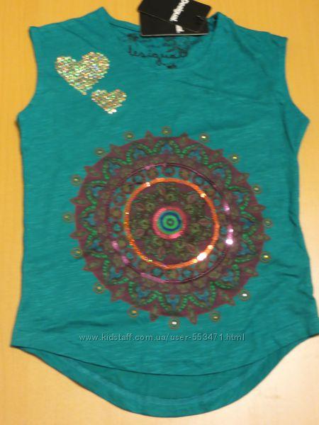 Яркая хлопково-вискозная футболка  Desigual, 7-8 лет