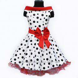 957c6b848f8 Нарядное платье в горох для девочки. Стиляги.