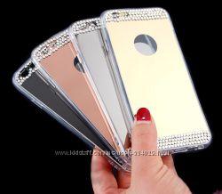 Зеркальные силиконовые чехлы со стразами для iphone 4 4s 5 5s 6 6s 6plus 7