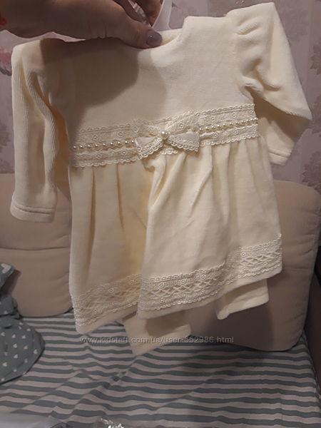 Набор платье шапочка штаны велюровый красивый 62 размер