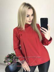 Стильная, красивая красная блуза-рубашка. Красная. Классная