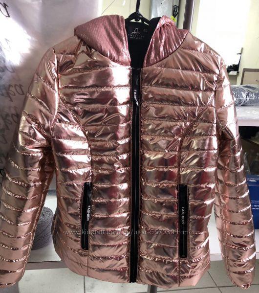 Куртка женская демисезонная Пудра металлик Капюшон с пайетками Р-ры 48- 50