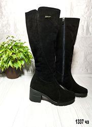 Сапоги зимние женские на невысоком каблуке из натуральной замши