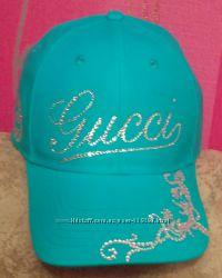 Стильная кепка Gucci копия бренда со стразами Swarovski