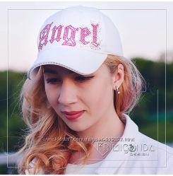 Стильные кепки Angel со стразами Swarovski в наличии 1шт летний коттон
