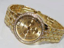 Стильные часы GENEVA Swarovski Gold со стразами