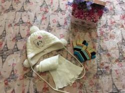 Теплый комплект шапка и шарф Ambra  перчатки в подарок
