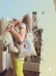 Новая детская льняная сумочка с аппликацией