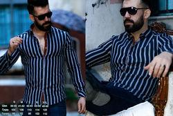 Турецкая  мужская рубашка новинка полоска