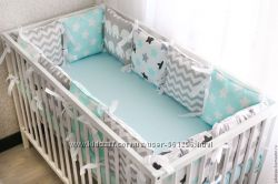 Подушка бортик защита в детскую кровать для младенца любые цвета