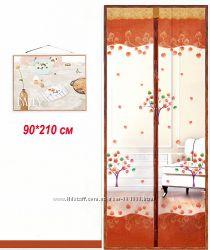 Антимоскитная сетка на двери на магнитах 90х210см. кофейная с рисунком