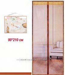Антимоскитная сетка на двери на магнитах 90х210см. Кофейная