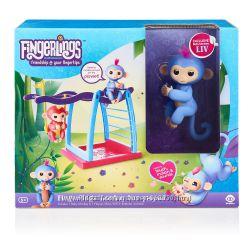 Детская площадка и интерактивная ручная обезьянка Лив Fingerlings оригинал