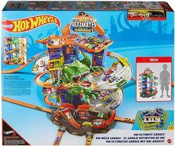 Трек Hot Wheels Легендарный гараж с динозавром City Ultimate Garage GJL14