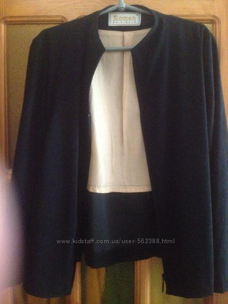 Легкая деми курточка-пиджак на молнии под замш, р. 18