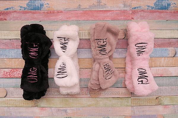 Повязка для волос omg белая, розовая, черная и котик