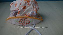 Хлопковая детская панамка шапка с цветочками стразами с прорезями для хвост