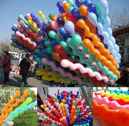 шарики надувные латексные спираль завитушка размер до 1, 5м
