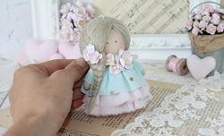 Ангелок текстильный в голубом платье