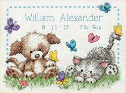 Набор для вышивания крестом Dimensions 73883 PET FRIENDS BIRTH RECORD