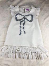 Красива шифоновая блуза-туника с бантом из пайеток 6-7 лет