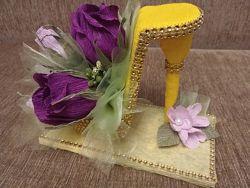 Букет туфелька из конфет. Оригинальный подарок на День рождение.