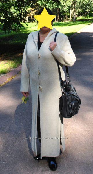 длинное вязаное пальто кардиган