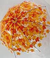 Зонт Прозрачный с листьями