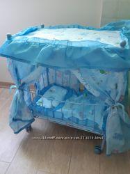 Кроватка для кукол  металлическая разборная мобильная