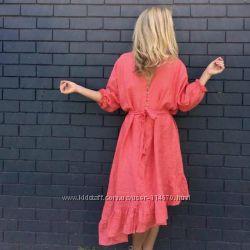 Туника, рубаха для пляжа, длинная рубаха-платье. Лен Любые размеры