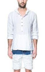 Рубашка с капюшоном, брюки из натурального льна, конопли