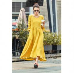 Платье льяное легкое. Невероятное платье из льна Цвет на выбор. ХС-6ХЛ