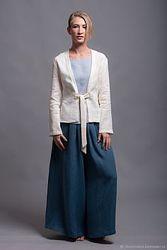 Женские широкие льняные брюки, юбка-брюки 40-74батал