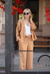 Льняной женский комплект пиджак-рубаха и брюки