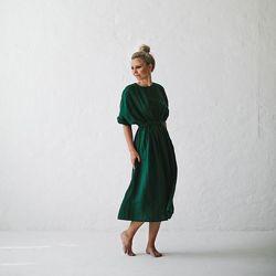 Женское базовое платье большие размеры из 100 льна. Батал, плюссайз