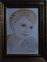 Портрет Юлии Тимошенко, цветные карандаши, портрет по фото на заказ