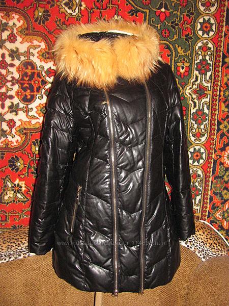 Классный натуральный пуховик под кожу, кожаное зимнее пальто с мехом