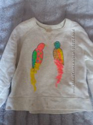 Кофта-рубашка Zara хлопок  на девочку 4-6 лет с попугайчиками
