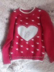 Свитер-кофта бордо хлопок теплая на зиму девочке 5-7 лет привозной