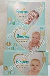 Подгузники Pampers Premium Care 2 148шт 3 120 шт, 4 104шт, 5 88шт