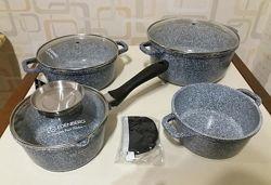Набор посуды казанысковородаковш EDENBERG EB-8012 мраморным покрытием